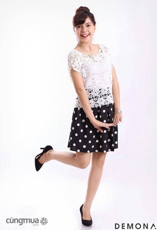 Chân váy xòe chấm bi nền đen đẹp đốn tim mọi tín đồ thời trang  - Thời trang