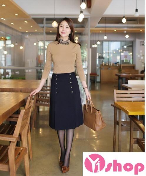 Chân váy đầm midi dài đẹp kiểu Hàn Quốc công sở - Hình 2