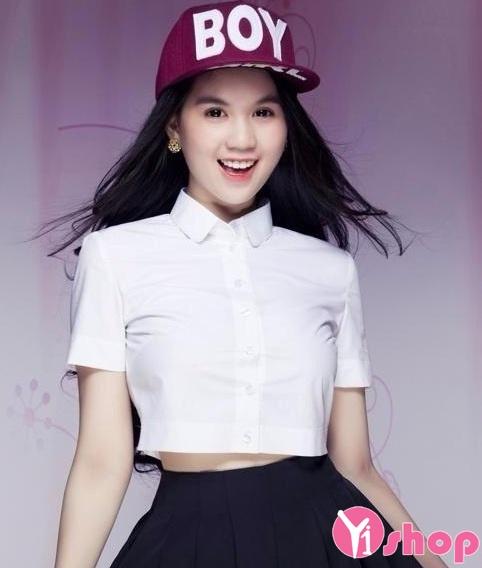 Áo sơ mi croptop nữ Hàn Quốc đẹp cho cô nàng cá tính - Hình 1
