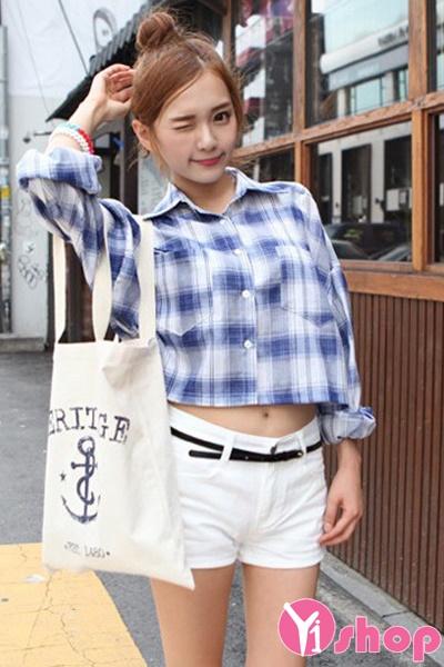 Áo sơ mi croptop nữ Hàn Quốc đẹp cho cô nàng cá tính - Hình 6