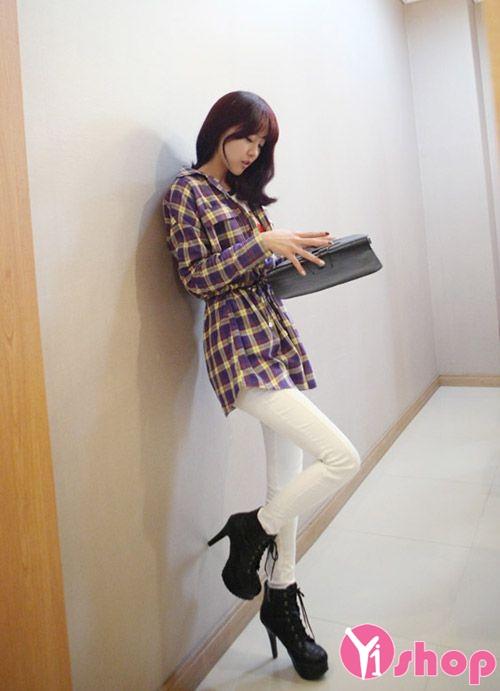 Áo sơ mi nữ caro Hàn Quốc đẹp cho nàng cao gầy cân đối - Hình 12