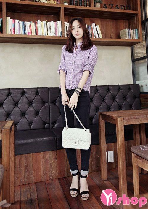 Áo sơ mi nữ caro Hàn Quốc đẹp cho nàng cao gầy cân đối - Hình 2