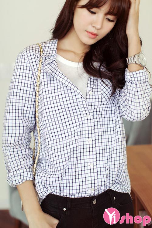 Áo sơ mi nữ caro Hàn Quốc đẹp cho nàng cao gầy cân đối - Hình 3