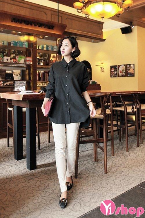 Áo sơ mi nữ dáng rộng đẹp Hàn Quốc phong cách sành điệu - Hình 9
