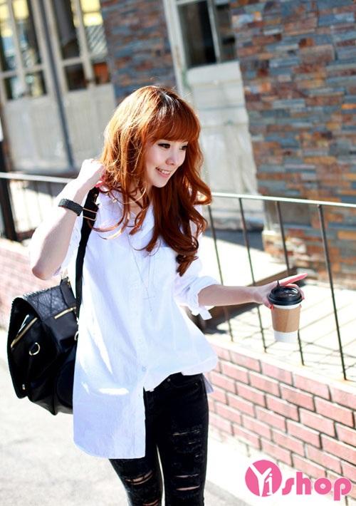 Áo sơ mi nữ trắng đẹp cho nàng năng động nhí nhảnh - Hình 6
