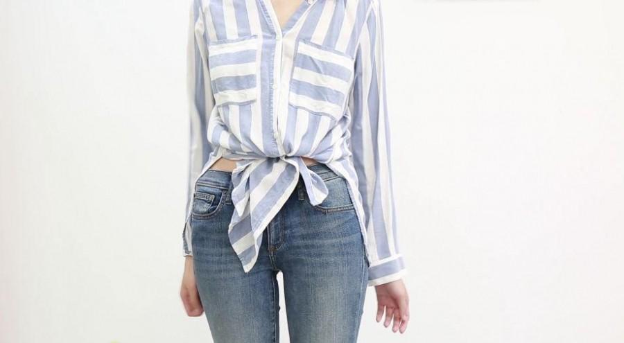 3 nút thắt để biến hóa chiếc áo phông và sơ mi của bạn trẻ trung năng động hơn - Hình 2