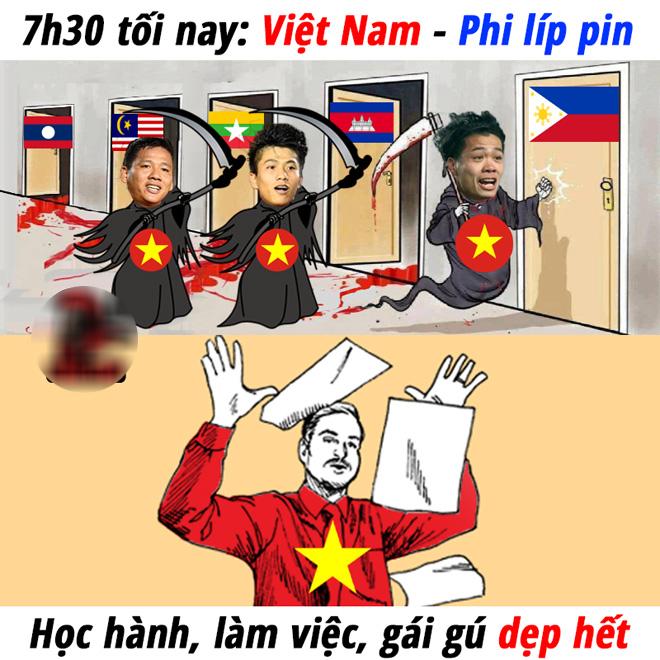Dân mạng chế ảnh cổ vũ đội tuyển Việt Nam đấu Philippines - Hình 2