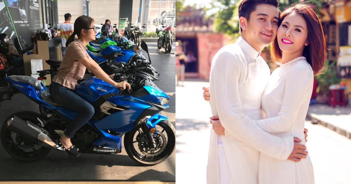 Vân Trang mua môtô 150 triệu đồng tặng chồng nhân kỷ niệm 2 năm cưới