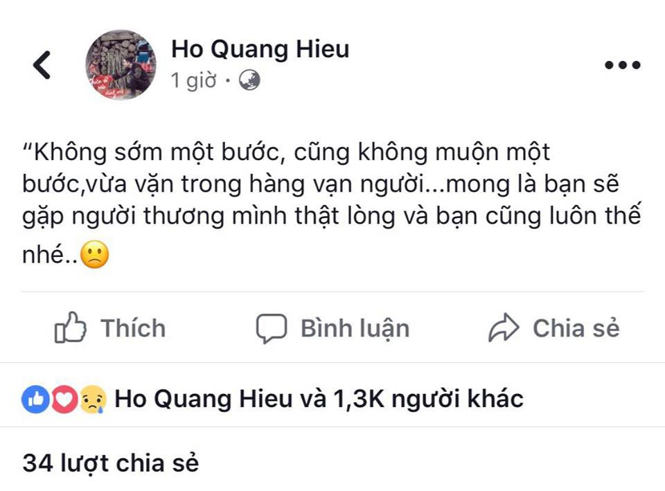 Hồ Quang Hiếu nhắn Bảo Anh giữa tin đồn có tình mới: Mong bạn gặp người thương mình thật lòng?