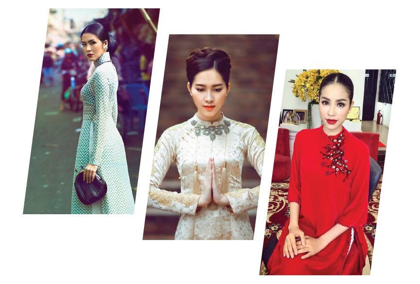 Say lòng ngắm Tăng Thanh Hà, Thu Thảo, Phạm Hương đọ sắc với áo dài - Hình 1
