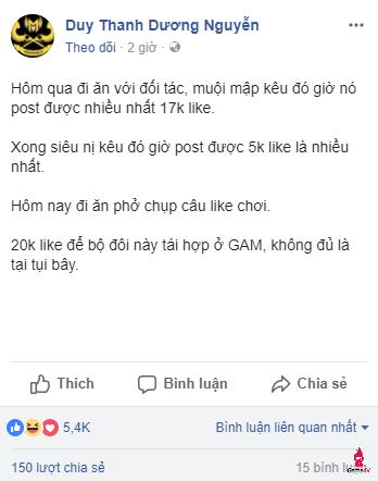 Tinikun giữ Levi ở lại GAM nếu có… 20k Like Facebook
