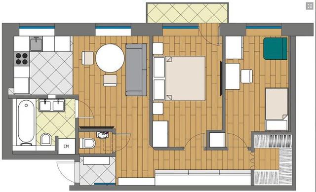Căn hộ 54m2 hai phòng ngủ rộng và đẹp đến khó tin - Hình 20
