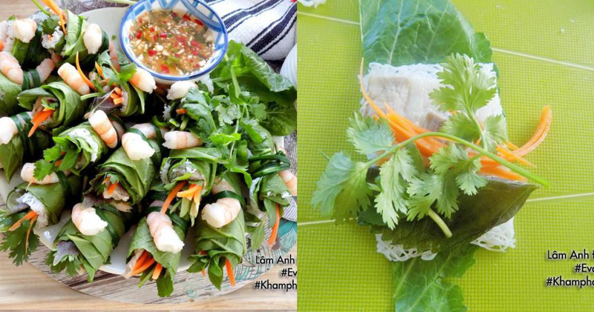 [Chế biến] – Tôm thịt cuộn cải xanh kèm bánh hỏi ăn vào ngày hè vừa ngon lại thanh mát
