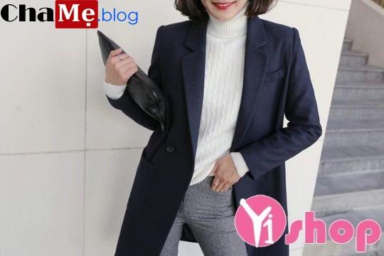 Áo khoác dạ nữ dáng dài đẹp đông 2018 - 2019 kiểu Hàn Quốc không lạnh - Hình 6