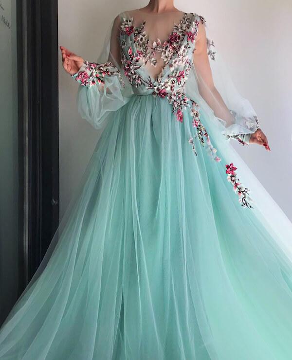 Váy cưới màu xanh ngọc cực đẹp cô dâu không thể rời mắt - Hình 18