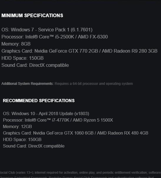 Cấu hình Red Dead Redemption 2 bản PC chính thức hé lộ: Game thủ nhà nghèo vẫn chơi được, ngốn tận 150GB dung lượng ổ cứng - Hình 1