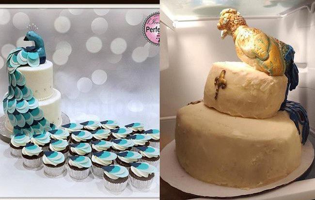 Đặt bánh cưới 7 triệu hình con công lung linh trên mạng, cô dâu khóc không ra nước mắt khi nhận về thành phẩm thảm họa - Hình 1