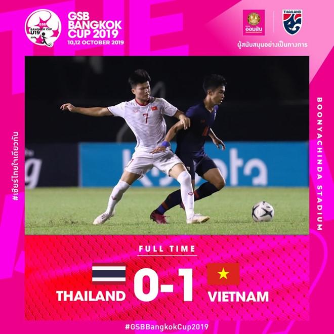 U19 Việt Nam đánh bại U19 Thái Lan, vào chung kết GSB Bangkok Cup 2019 - Hình 1