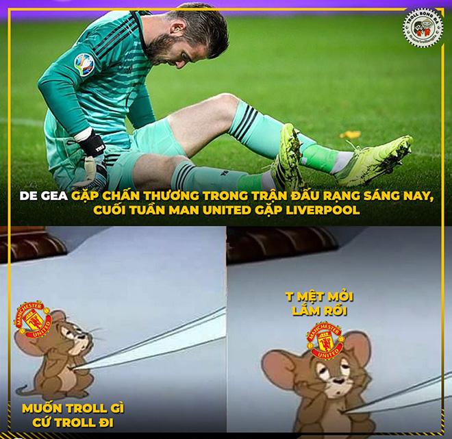 Ảnh chế: MU hoang mang khi De Gea chấn thương trước đại chiến Liverpool - Hình 3