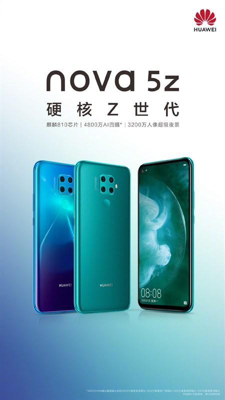 Huawei Nova 5z xuất hiện trong poster chính thức, hé lộ chip xử lý và 4 camera - Hình 1