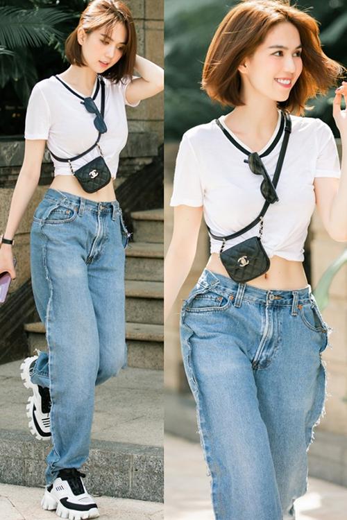 Ngọc Trinh gây hiểu nhầm mặc ngược quần jeans - Hình 2