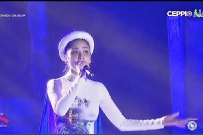 Hoàng Hạnh hát Tàu anh qua núi ở Miss Earth: Trời ơi, thảm hoạ! - Hình 1