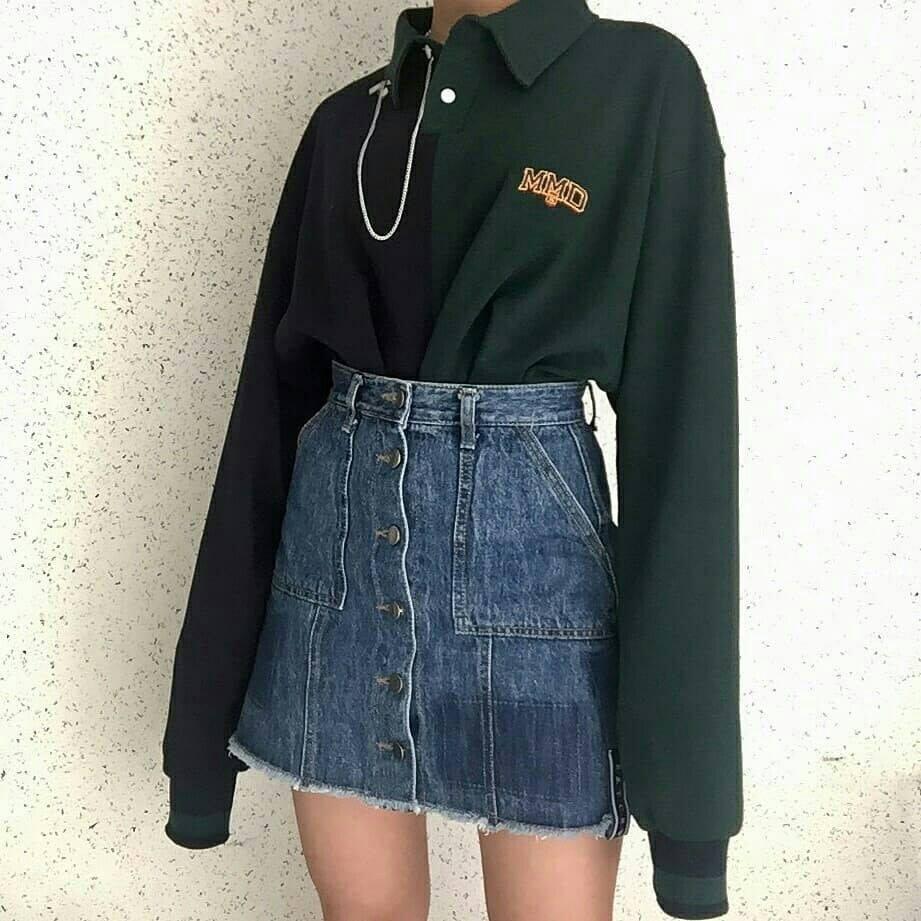 Muôn kiểu diện chân váy jeans cho mùa đông thêm xinh - Hình 1