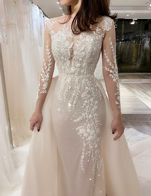 Váy cưới 2 trong 1 tay dài cho mùa thu đông - Hình 4