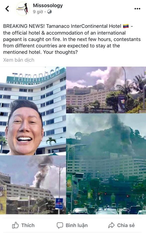 Khách sạn tổ chức Miss Grand International tại Venezuela bốc cháy dữ dội - Hình 1