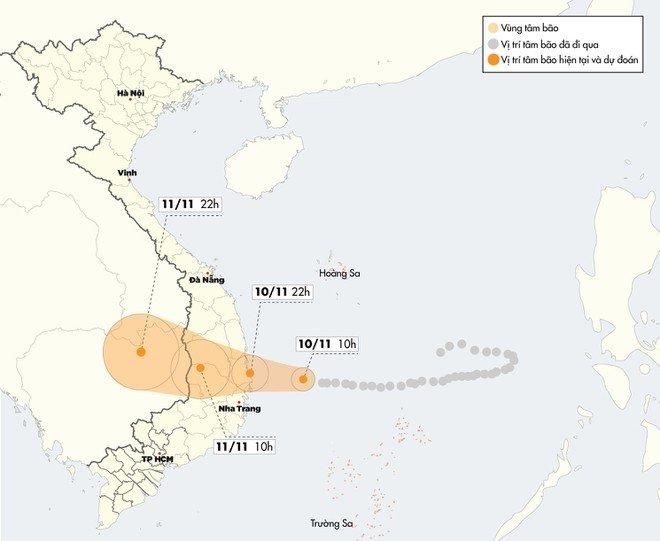 Dự báo thời tiết ngày 11/11: Bão số 6 đổ bộ Tây Nguyên và Nam Trung Bộ - Hình 1