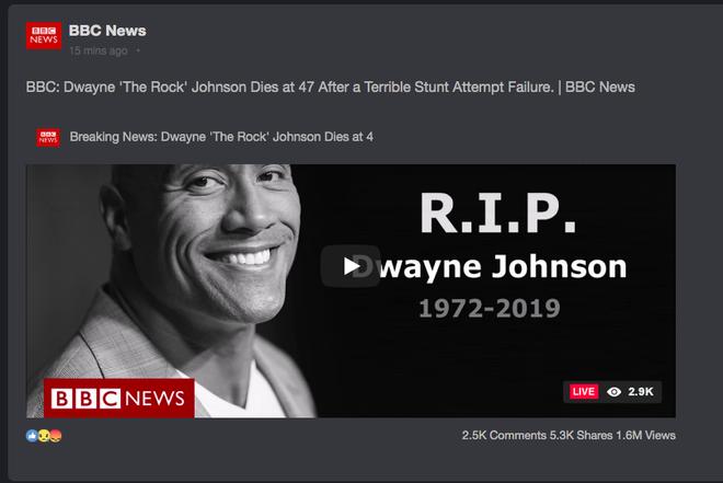 Chấn động tin BBC tuyên bố tài tử Fast & Furious The Rock qua đời, nhưng sao vẫn online đăng ảnh ầm ầm thế này? - Hình 1