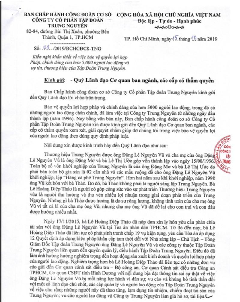 5.000 nhân viên Trung Nguyên viết đơn tố cáo bà Lê Hoàng Diệp Thảo phá hoại - Hình 1