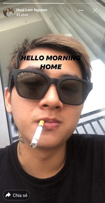 Hoài Lâm đăng ảnh hút thuốc lá, xuống sắc đầu tóc bù xù - Hình 1