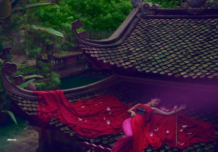 Hoa hậu Áo dài leo lên mái Việt Phủ Thành Chương chụp yếm - Hình 2