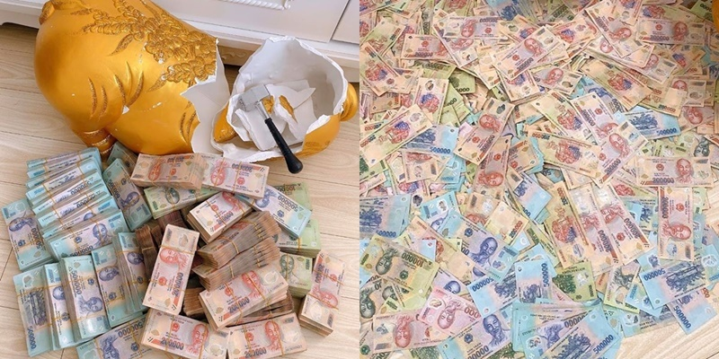 Hotgirl đập heo đất tiền tỷ bị tố sống ảo vì tiền bỏ heo phẳng phiu - Hình 2