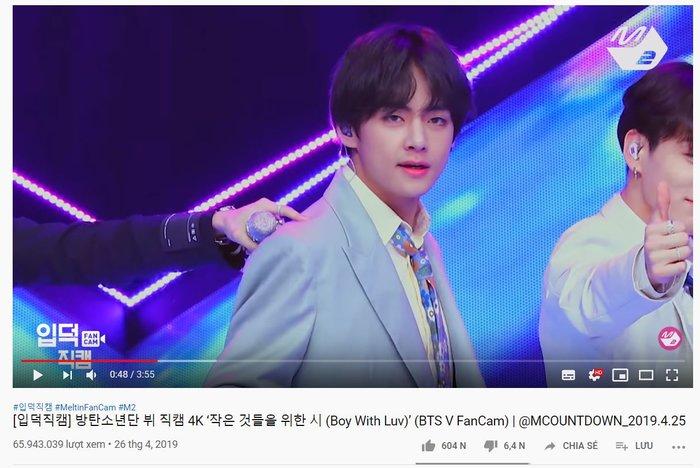 Với fancam focus Boy With Luv, V (BTS) tiếp tục lập kỉ lục mới trên Youtube - Hình 1