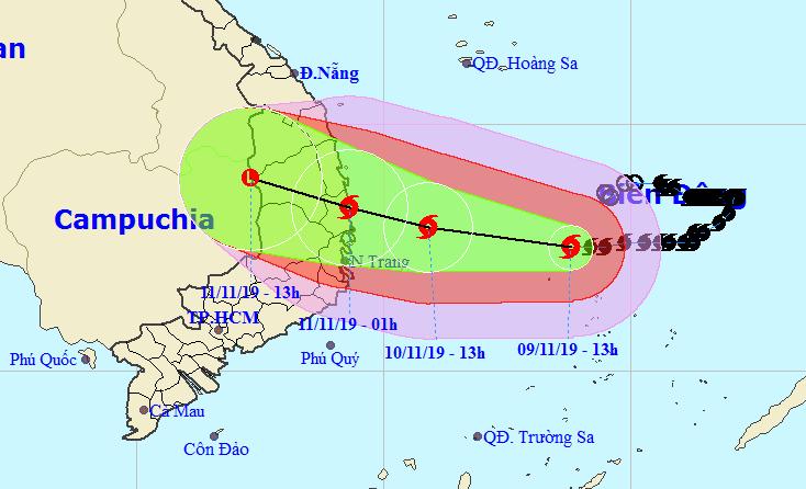 Tối mai, bão số 6 giật cấp 12 tiến vào đất liền các tỉnh Quảng Ngãi - Khánh Hòa - Hình 1