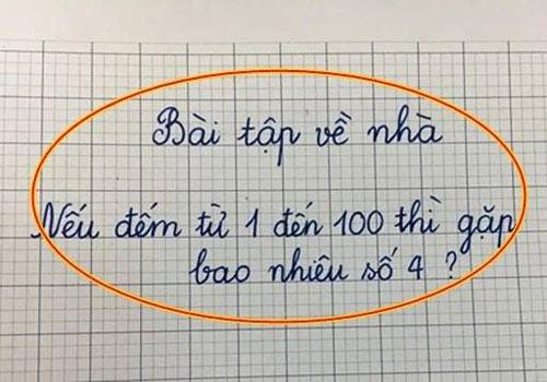 Nếu đếm từ 1 đến 100 thì gặp bao nhiêu số 4? - Hình 1
