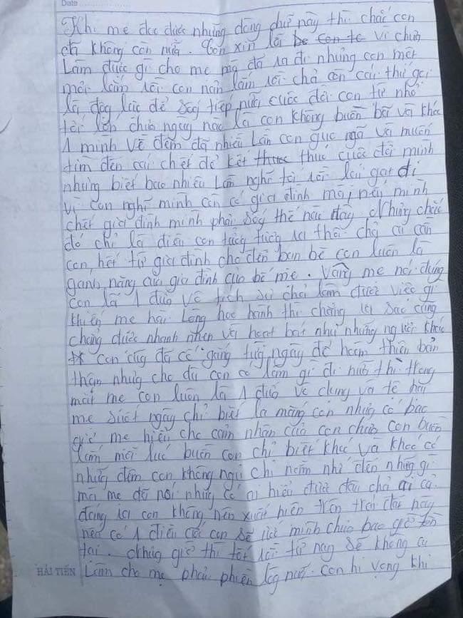 Thiếu nữ 16 tuổi để lại tâm thư rồi tự tử vì áp lực gia đình: 'Mẹ nói đúng, con là đứa vô tích sự chẳng làm được việc gì khiến mẹ hài lòng' - Hình 1