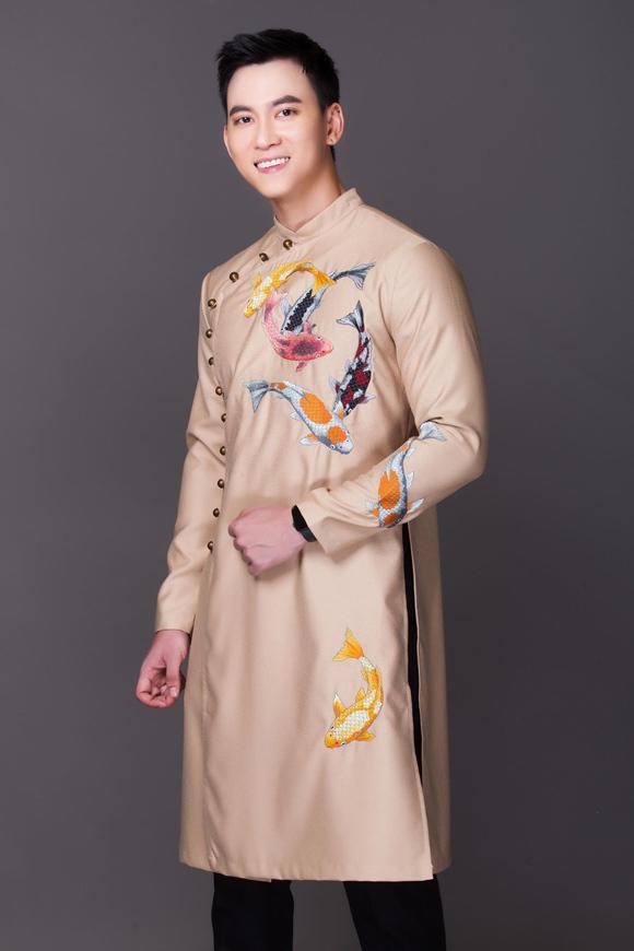 Đầu lân, tranh Đông Hồ trên áo dài Tết - Hình 5