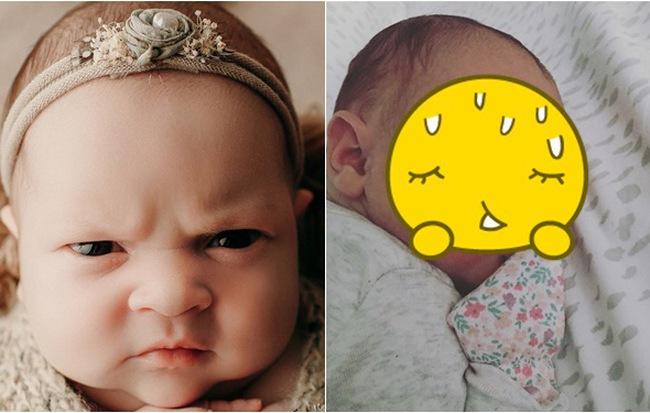 Bé gái 3 tuần tuổi giữ nguyên biểu cảm khó ở suốt buổi chụp hình, xem ảnh lúc mới sinh càng bất ngờ hơn - Hình 1
