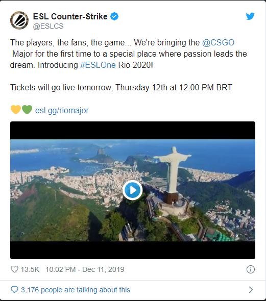 ESL sẽ là host của Major CS:GO đầu tiên trong năm 2020 tại Rio de Janero, Brazil - Hình 1