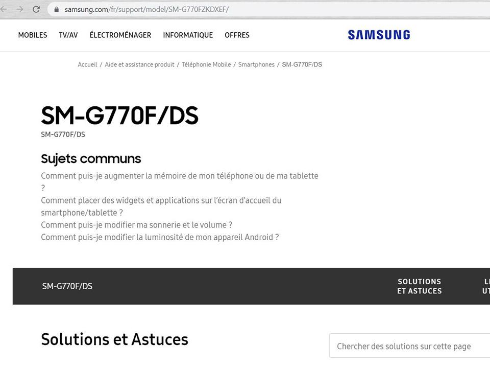 Trang hỗ trợ Galaxy S10 Lite hiện đang hoạt động trên website Samsung Pháp - Hình 1