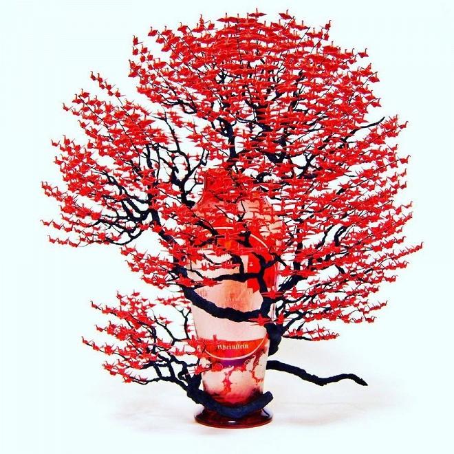 Bất ngờ trước những tác phẩm nghệ thuật tạo cây từ 3000 con hạc giấy gấp tay nhỏ - Hình 8