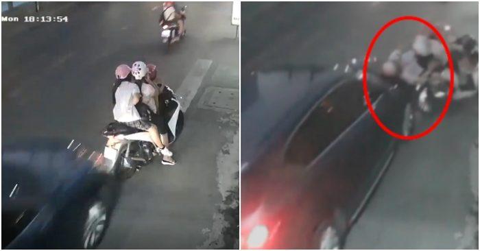 Dừng xe bên lề đường để nghe điện thoại, 3 mẹ con bị ô tô hất tung - Hình 1