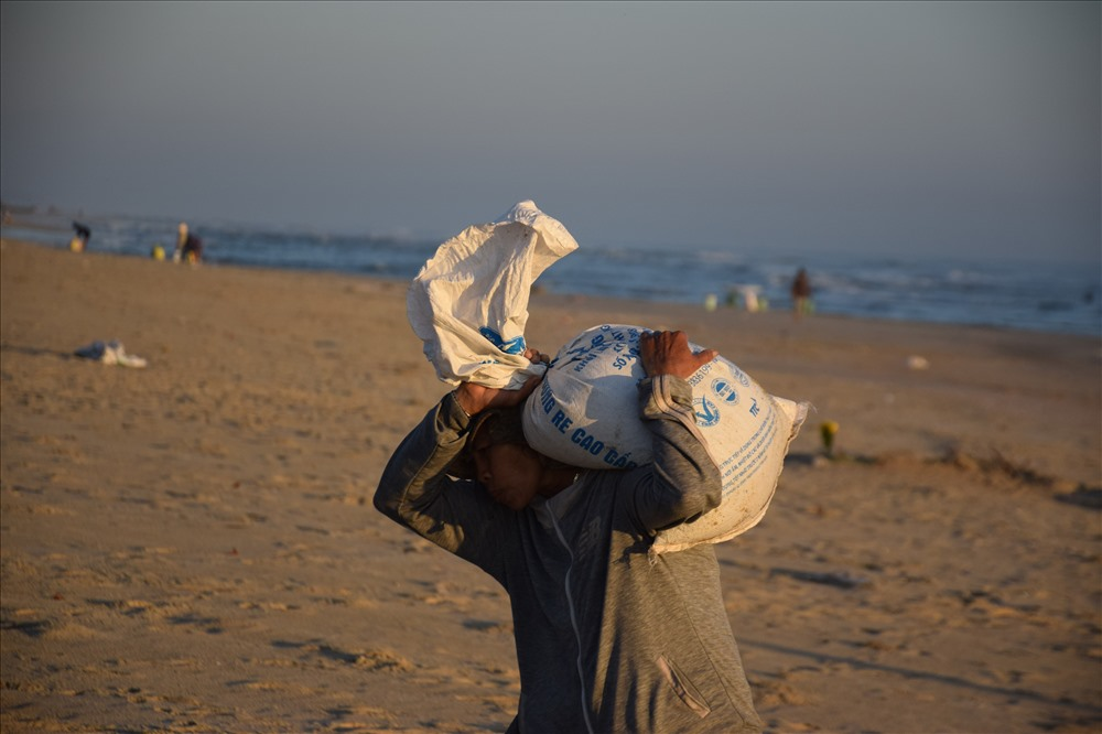 Ngư dân Quảng Ngãi khuấy lòng biển cào những con ốc gạo đủ màu sắc - Hình 8