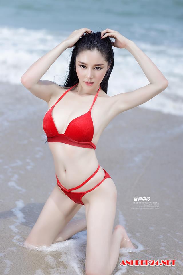 Chân dài xứ Trung Hoa khoe đường cong bóng rẩy với bikini - Hình 7