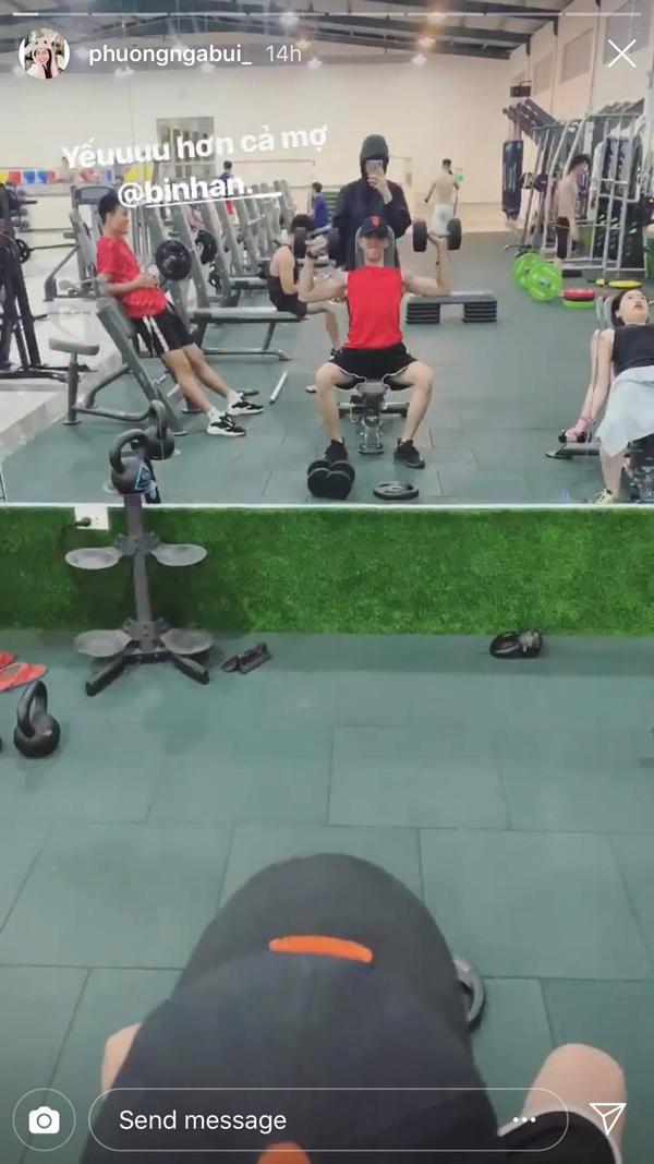 Á hậu Phương Nga và bạn trai cùng tập gym - Hình 1