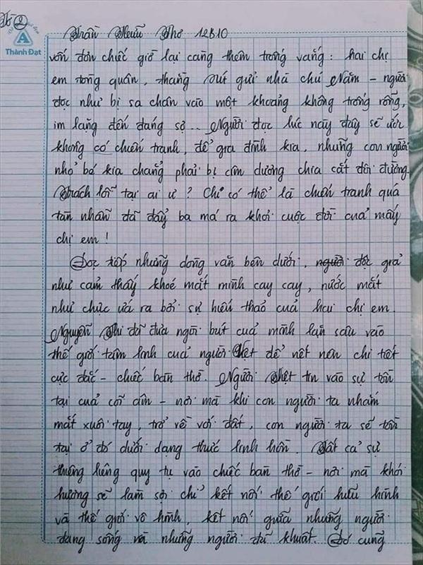 Bài văn 9.5 điểm xuất sắc từ nội dung đến chữ viết, khiến giáo viên bất lực khi viết lời phê - Hình 5