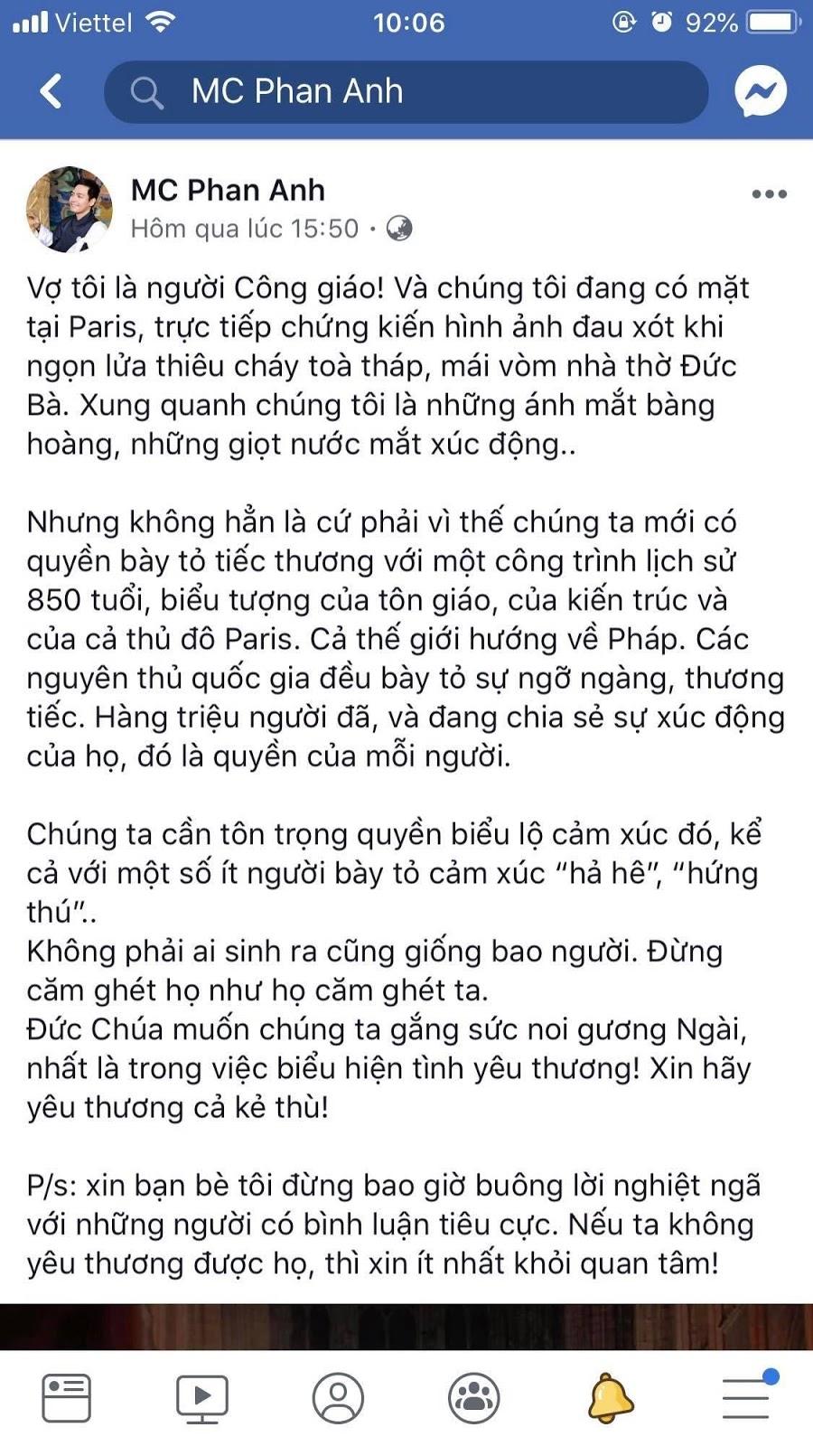 Sự thật MC Phan Anh bị bóc mẽ có khả năng xuyên không qua Pháp để khóc thương nhà thờ Đức Bà Paris bị cháy rụi - Hình 2